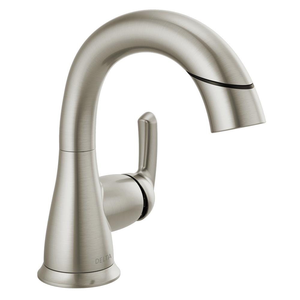 Delta Broadmoor Single Hole Single Handle Bathroom Faucet With Pull Down Sprayer In Spotshield Brushed Nickel 15765lf Sppd The Home Depot