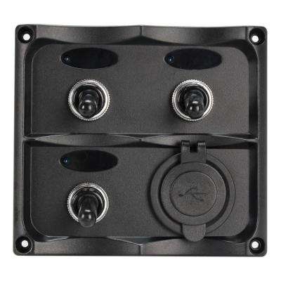 Marine Grade 12-Volt Toggle Switch Panel - 3 Toggle Switches and 2 USB