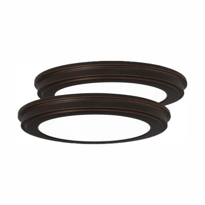 13 in. Oil Rubbed Bronze Color Changing LED Ceiling Flush Mount (2-Pack)