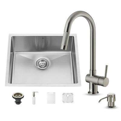 All-in-One Undermount Stainless Steel 23 in. 0-Hole Single Bowl Kitchen Sink in Stainless Steel