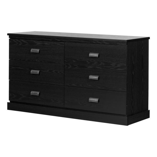 South Shore Gloria 6 -Drawer Black Oak Dresser 11931