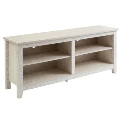 White Wash 58 in. Traditional Rustic Wood TV Stand Storage Console