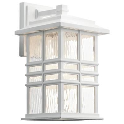 Beacon Square 14.25 in. 1-Light White Outdoor Wall Mount Lantern Scone with Clear Hammered Glass