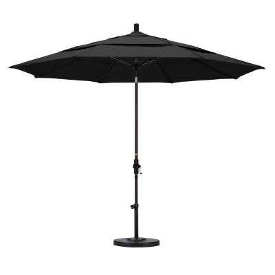 11 ft. Fiberglass Collar Tilt Double Vented Patio Umbrella in Black Olefin