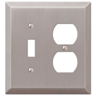 Metallic 2 Gang 1-Toggle and 1-Duplex Steel Wall Plate - Brushed Nickel