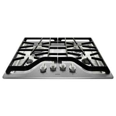 30 in. Gas Cooktop in Stainless Steel with 4 Burners including 18000-BTU Power Burner