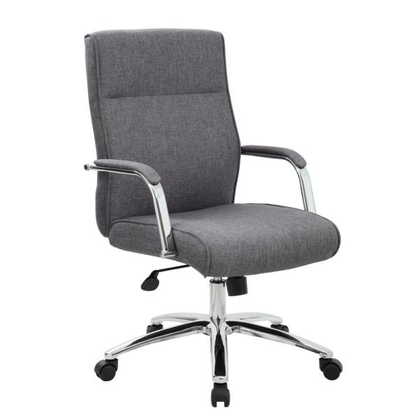 Grey Fabric Office Chair With Arms, Grey Fabric Desk Chair With Arms