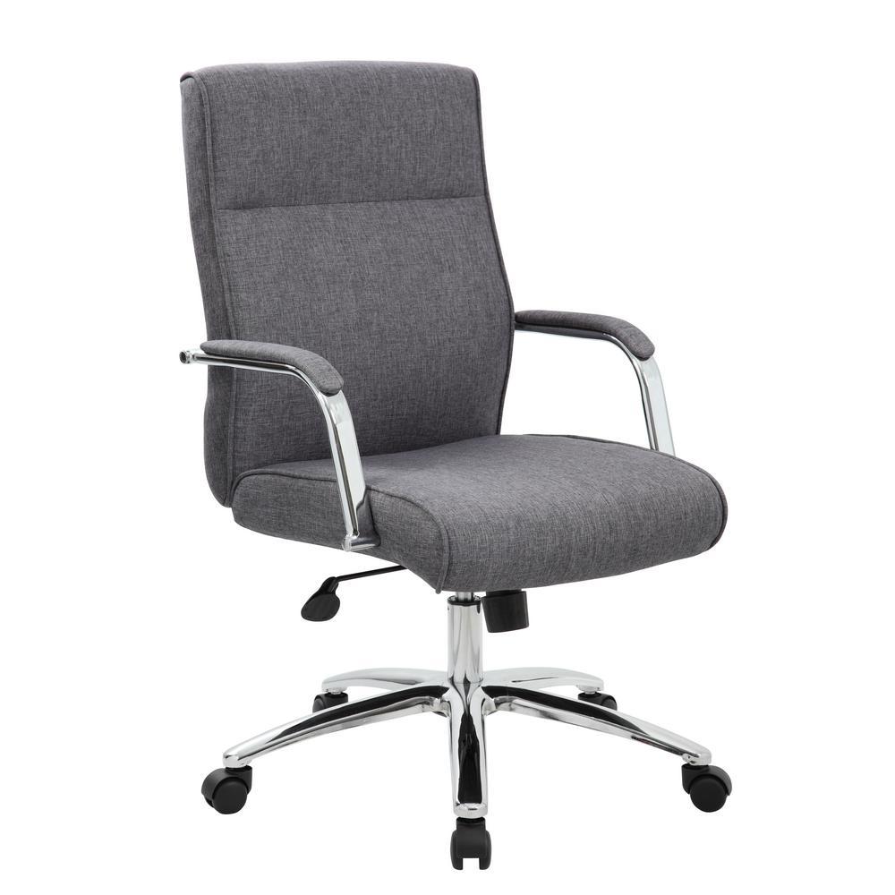 High Back Desk Chair. Slate Grey Linen Fabric. Chrome finish arms frame. Pnuematic Lift.