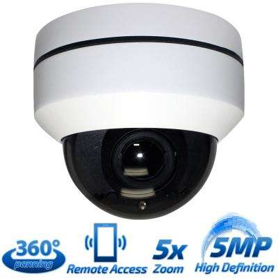 Wired 5MP High Speed Outdoor PTZ IP PoE Surveillance Camera 5X Optical Zoom 360-Degree Pan HD 3.5-15.5 mm Lens