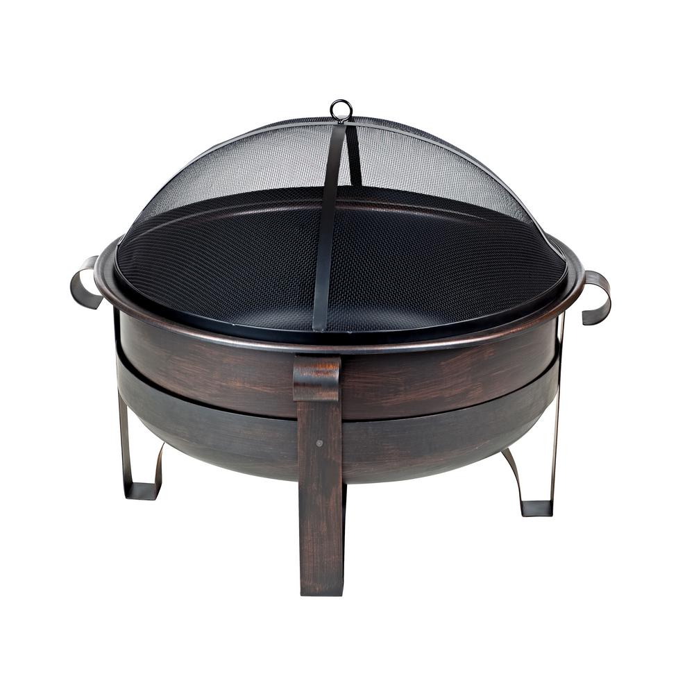 Fire Sense Cornell 35 in. x 25 in. Round Steel Wood Burning Fire Pit in Brushed Bronze with Fire Tool