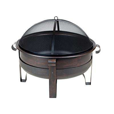 Cornell 35 in. x 25 in. Round Steel Wood Burning Fire Pit in Brushed Bronze with Fire Tool