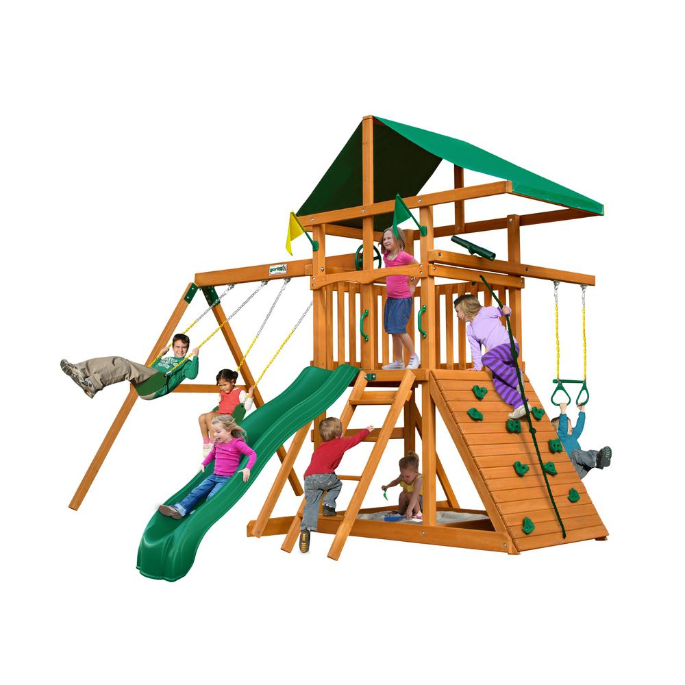 Gorilla Playsets Outing Iii Wooden Playset With Rock Wall And Slide