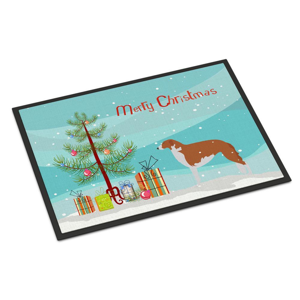 18 in. x 27 in. Indoor/Outdoor Borzoi Russian Greyhound Christmas Door Mat