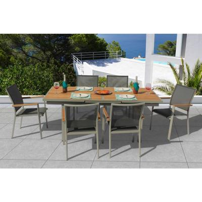Essence Grey Seagull 7-Piece Aluminum Outdoor Dining Set with Sling Set in Pewter