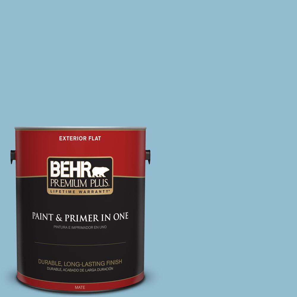 BEHR Premium Plus 1-gal. #S490-3 Reef Blue Flat Exterior Paint