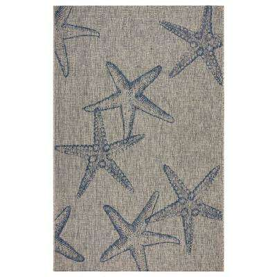 Captiva Gray/Navy 7 ft. 9 in. x 9 ft. 5 in. Rectangle Indoor/Outdoor Area Rug