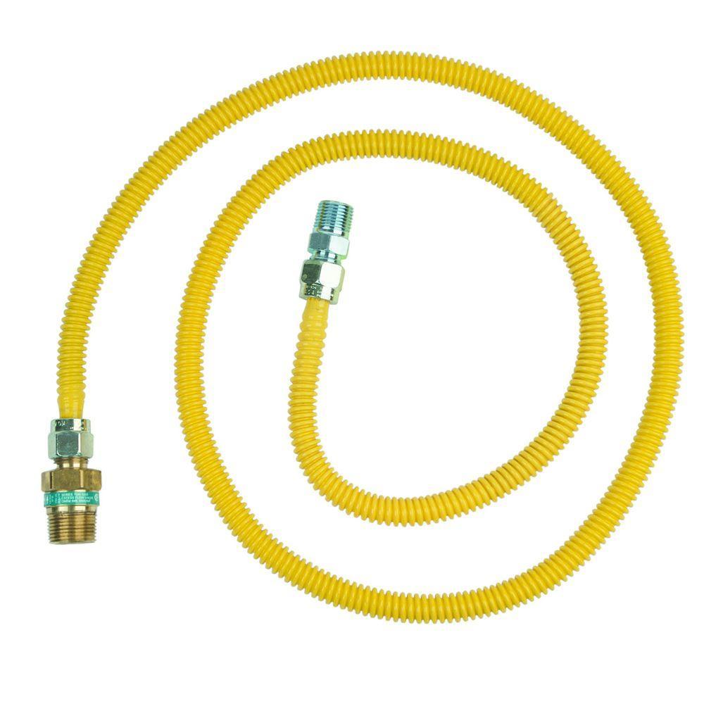 Brasscraft Safety+PLUS 1/2 inch Female Flare Excess Flow Valve x 1/2 inch MIP x 72 inch Gas Connector 1/2 inch O.D.... by BrassCraft