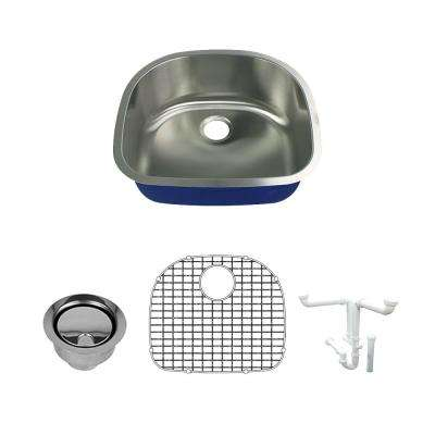 Meridian All-In-One Undermount Stainless Steel 23.625 in. Single Bowl Kitchen Sink in Brushed Stainless Steel