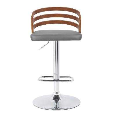 Adele Mid-Century 36 in. to 44 in. Chrome Swivel Barstool with Grey Faux Leather and Walnut Veneer