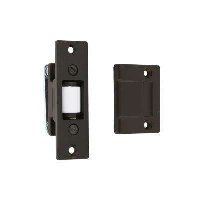 Solid Brass Heavy-Duty Silent Roller Latch with Square Strike Adjustable in Oil-Rubbed Bronze