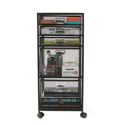 5-Tiered Drawer Cabinet, Office Cart, File Storage, Utility Cart, Office Storage, Heavy Duty Multi-Purpose Cart in Black