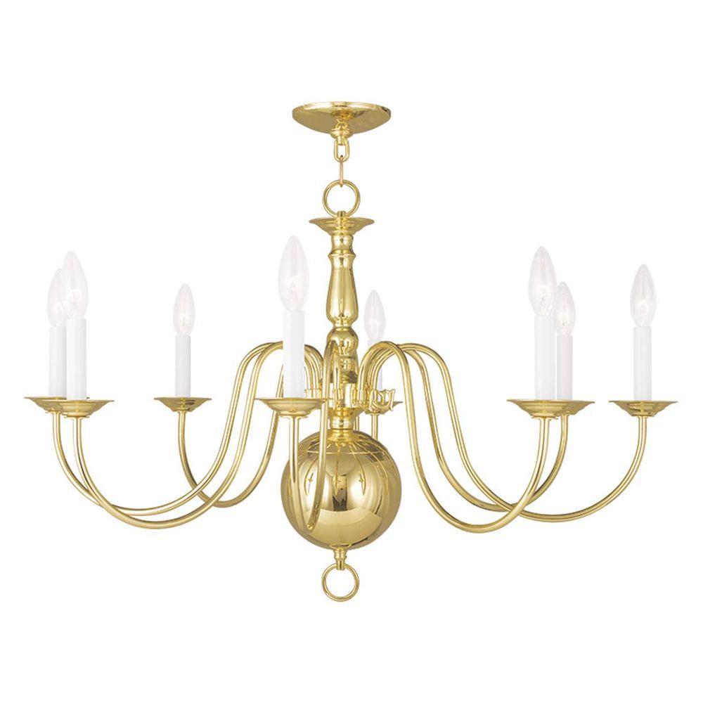 Providence 8-Light Polished Brass Incandescent Ceiling Chandelier