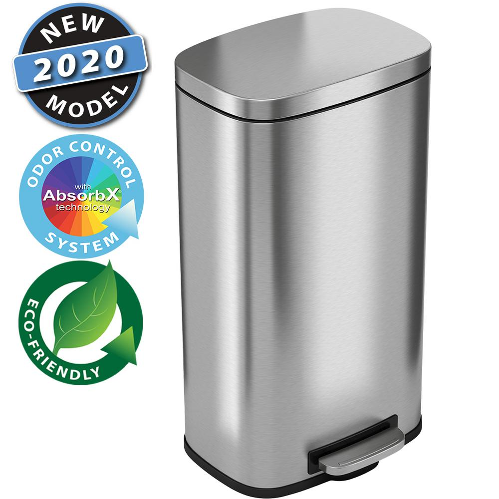 iTouchless SoftStep 8 Gal. Stainless Steel Step Trash Can with Odor Filter and Inner Bucket for Office and Kitchen