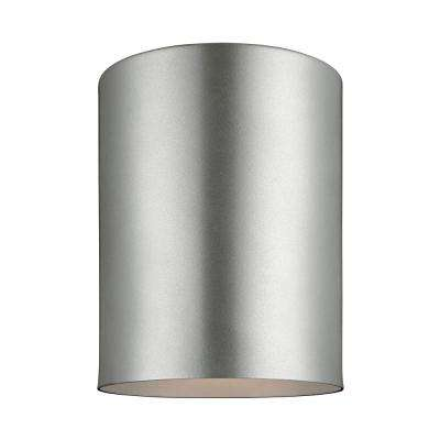 Outdoor Cylinders Painted Brushed Nickel 1-Light Outdoor Flush Mount with LED Bulb