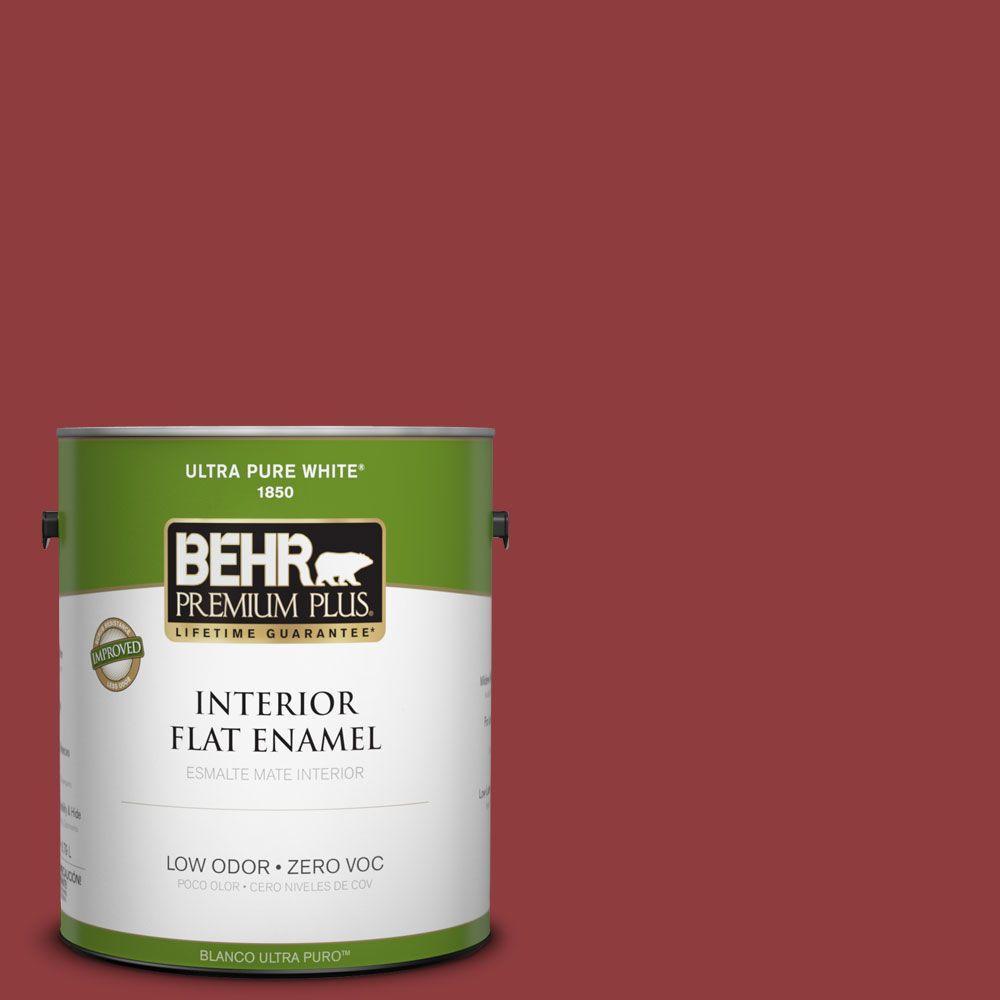 BEHR Premium Plus 1-gal. #160D-7 Cranberry Whip Zero VOC Flat Enamel Interior Paint-DISCONTINUED