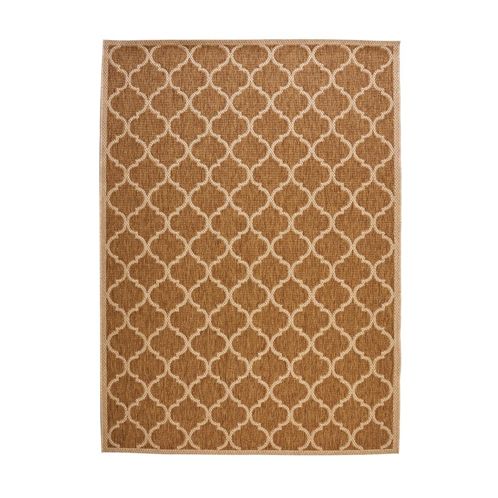 Hampton Bay Trellis Tan Natural Sisal Flat Woven Weave 8 ft. x 10 ft. Indoor/Outdoor Area Rug