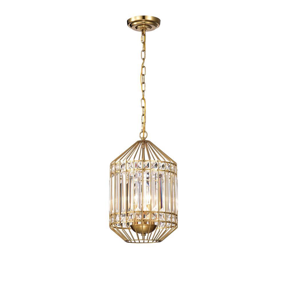 Kou 12 in. 3-Light Indoor Brass Pendant Chandelier