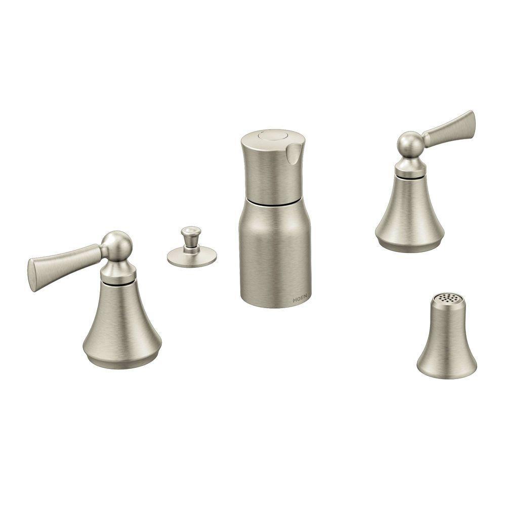 Wynford 2-Handle Bidet Faucet in Brushed Nickel (Valve Not Included)