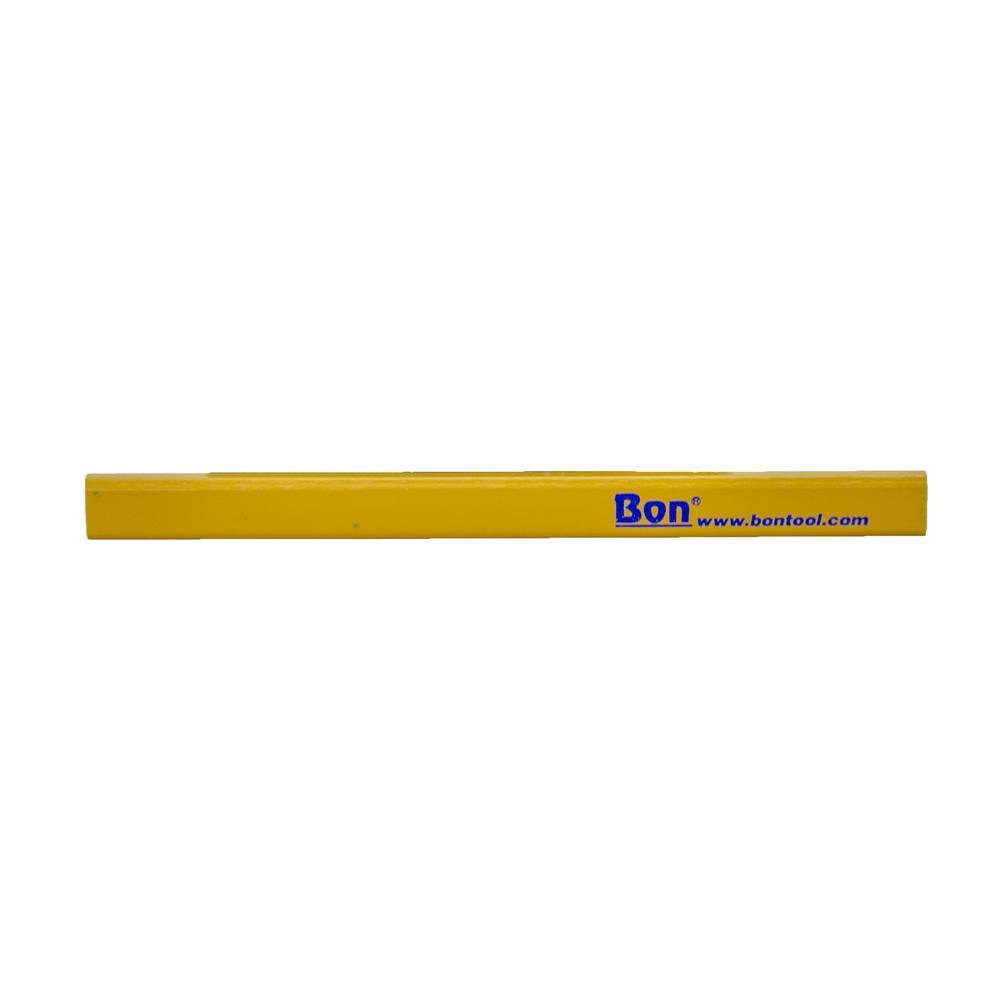 Bon Tool Carpenter Pencils in Yellow Casing Medium Black Lead (12-Pack)