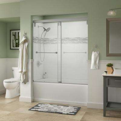 Everly 60 in. x 59-1/4 in. Semi-Frameless Mod Sliding Bathtub Door in Nickel with 3/8 in. (10mm) Clear Glass