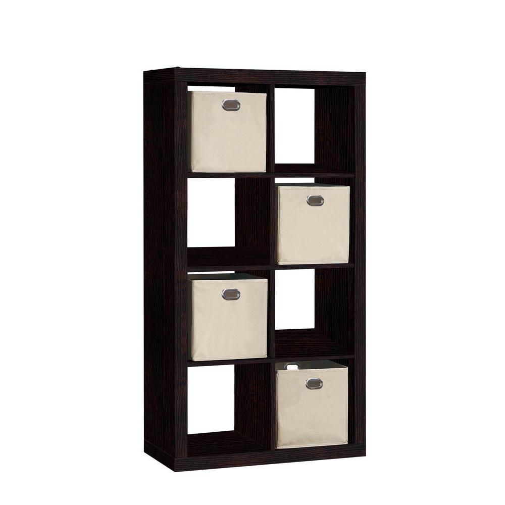 31 In W X 58 In H 8 Cube Organizer With 4 Fabric Bins