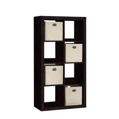 31 in. W x 58 in. H 8-Cube Organizer with 4-Fabric Bins