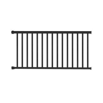 Classic Square 42 in. H x 97-1/4 in. W Textured Black Aluminum Railing Kit