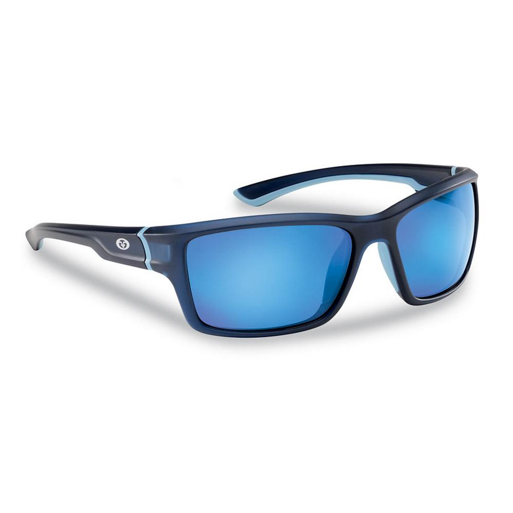 f64420b7a54 Flying Fisherman Cove Polarized Sunglasses Matte Crystal Navy Frame with  Smoke in Blue Mirror Lens