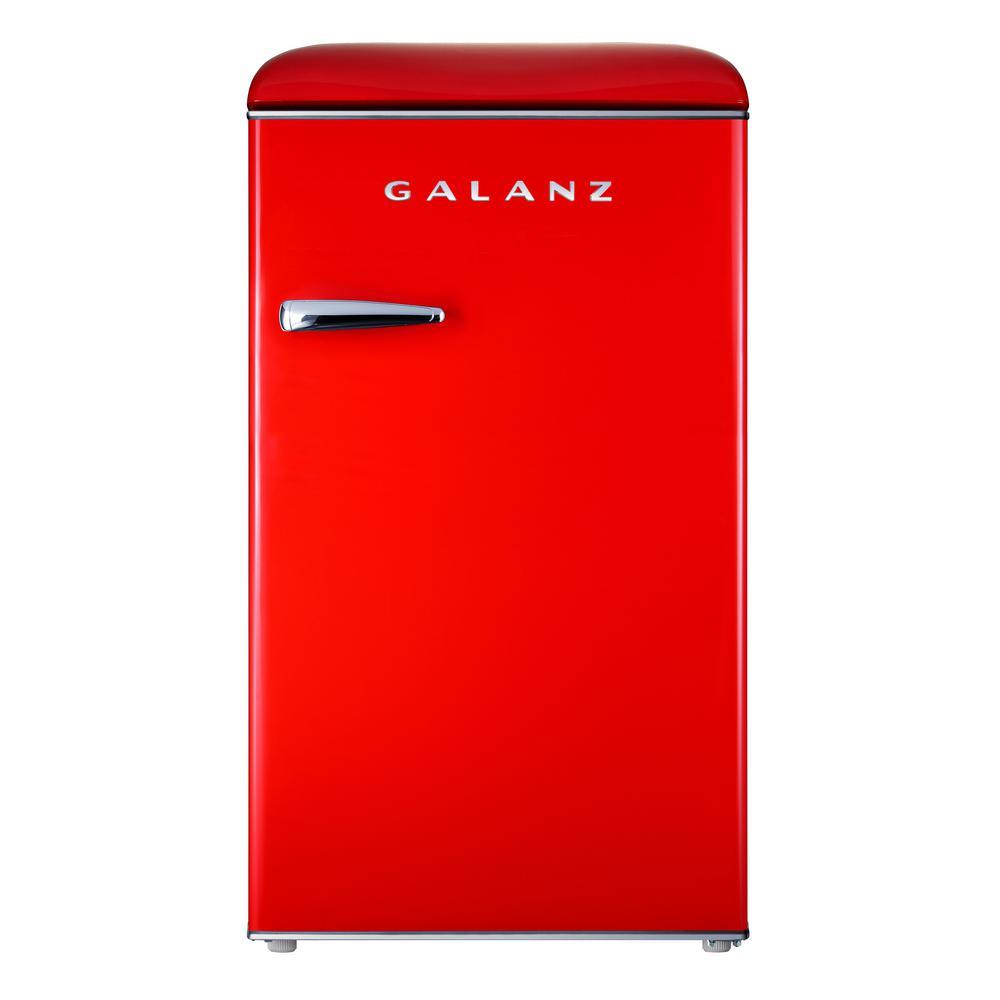 3.5 cu. ft. Retro Mini Refrigerator Single Door Fridge Only in Red