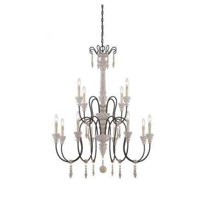 Ayana 12-Light White Washed Driftwood Chandelier