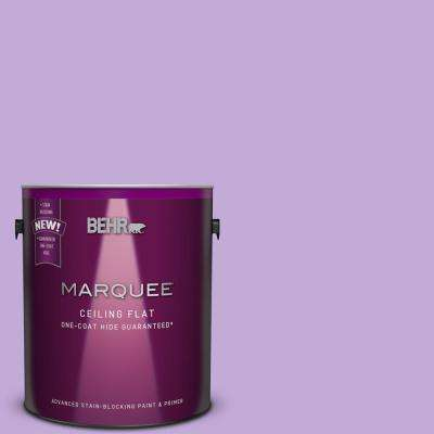 1 gal. #MQ4-59 Tinted to Purple Gladiola One-Coat Hide Flat Interior Ceiling Paint and Primer in One