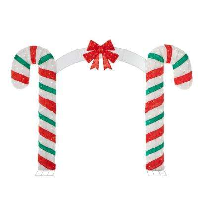 w 350 lights christmas candy cane archway - Home Depot Christmas Decorations For The Yard