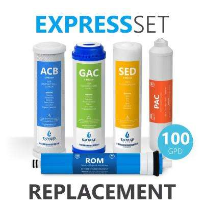 6 Month Reverse Osmosis System Replacement Filter Set - 5 Filters with 100 GPD RO Membrane - 10 in. Size Water Filters