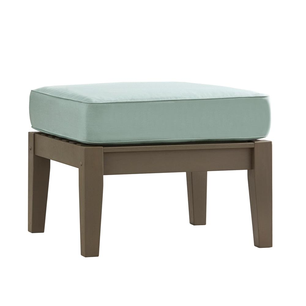 Verdon Gorge Gray Oiled Wood Outdoor Ottoman with Sunbrella Blue Cushion