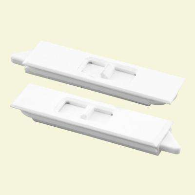 Tilt Latch Pair, White Plastic Construction, spring-loaded, Snap-In