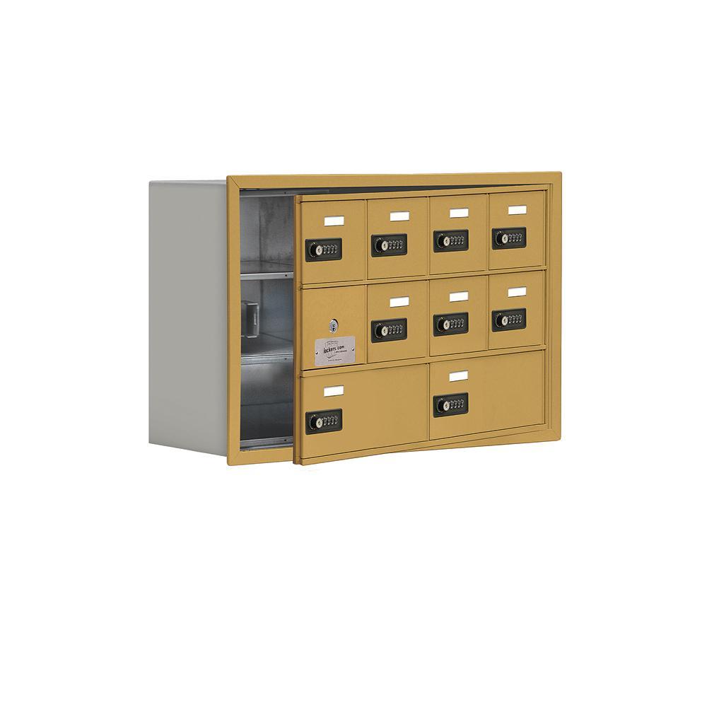 19100 Series 29.25 in. W x 18.75 in. H x 8.75 in. D 9 Doors Cell Phone Locker Recess Mount Resettable Lock in Gold