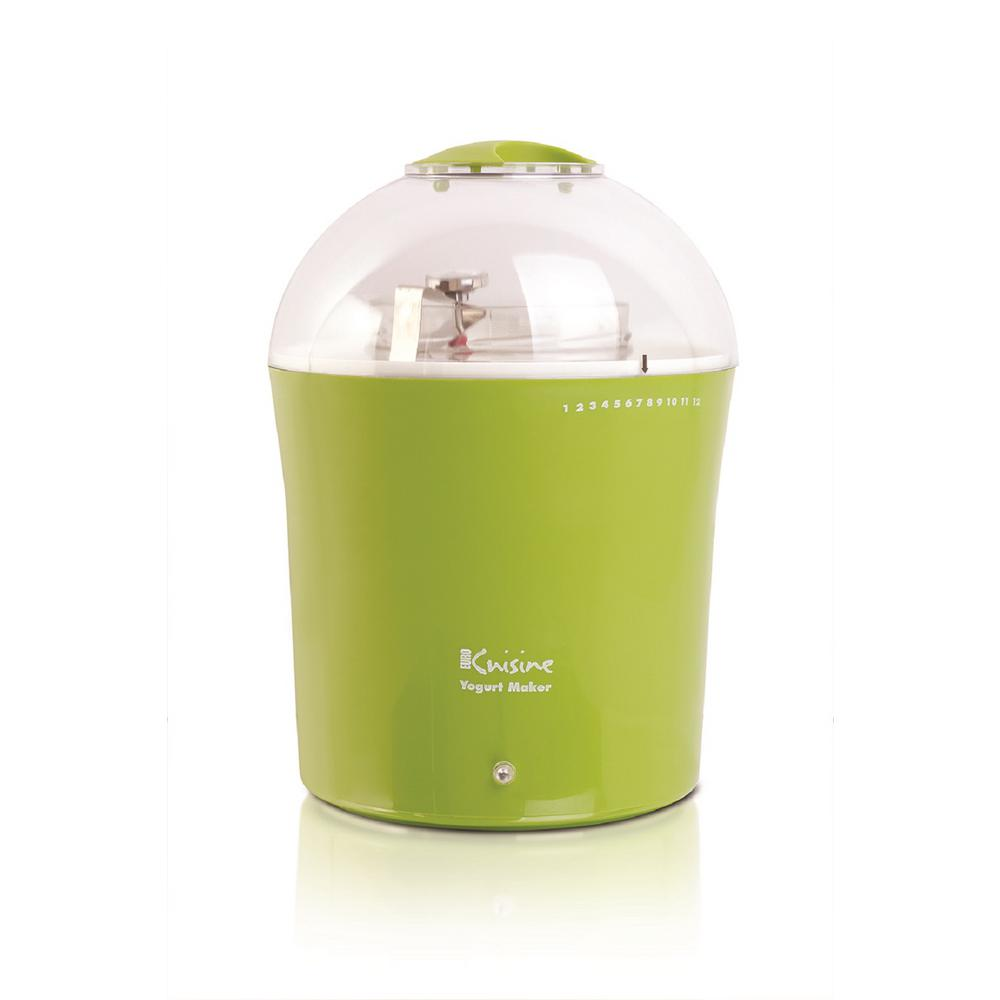 2 Qt. Green Yogurt Maker with Glass Jar and Stainless Steel Thermometer