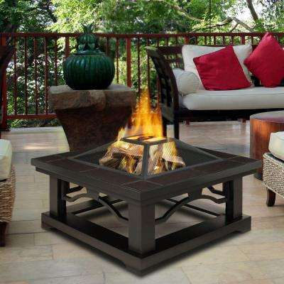 Crestone 34 in. Steel Framed Wood-Burning Fire Pit with Brown Tile