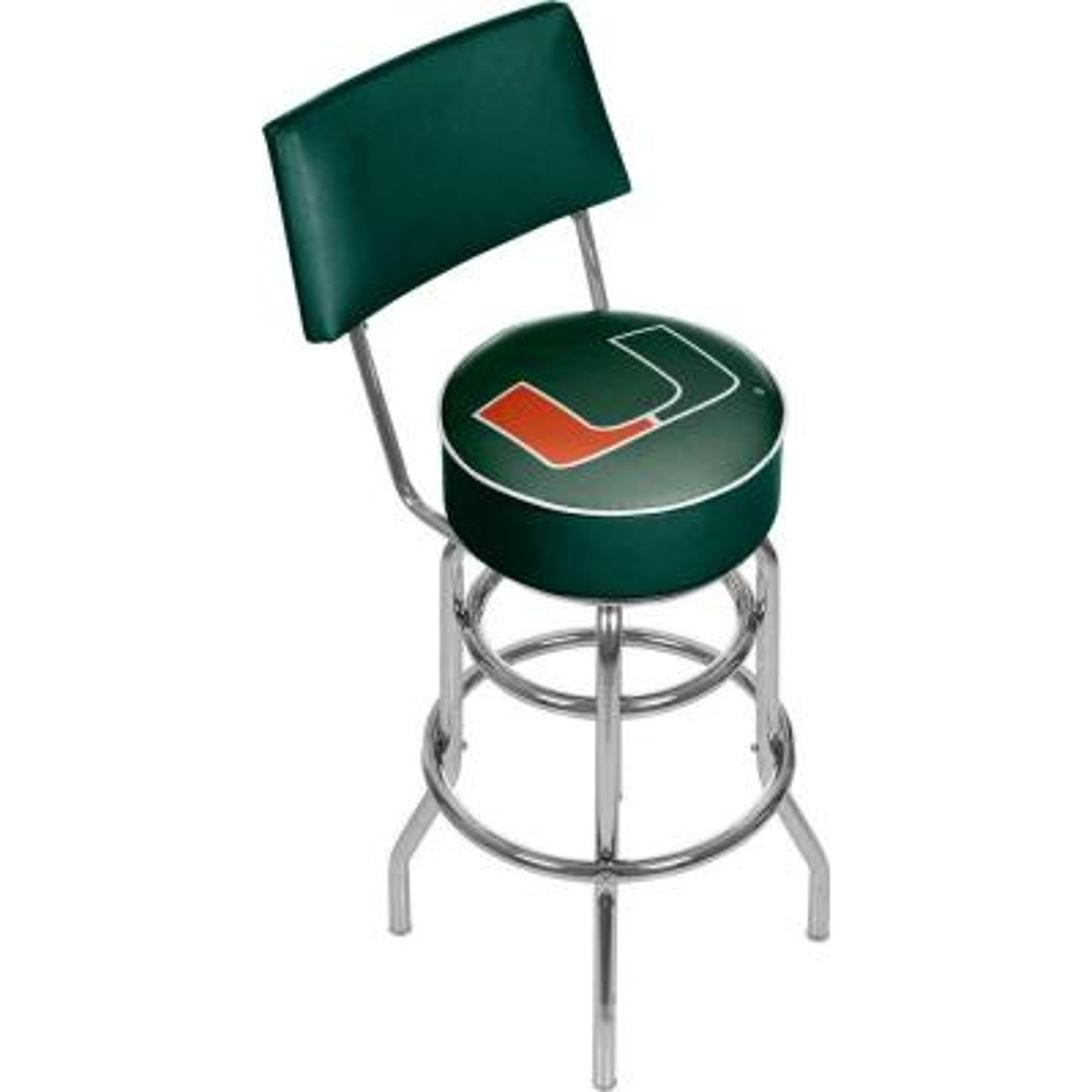 University of Miami Wordmark 31 in. Chrome Padded Bar Stool