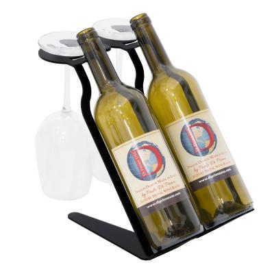 Venetian Freestanding Table Wine Rack - 2 Bottle 2 Glass - Phantom Edition